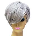 Capless hochwertige synthetische Janpanese Kanekalon Kurz Glatt Grau Haar Perücke