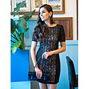 TS Lace Splicing Short Sleeve Bodycon Dress