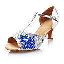 Non Customizable Women's Dance Shoes Latin/Ballroom Leatherette/Sparkling Glitter Chunky Heel Silver