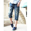 גברים קוריאנים אופנתי Ripped ג'ינס קצוץ