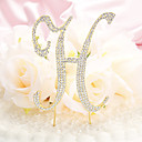 Cake Toppers Monogram Gold Plated Metal Diamante Letter  Cake Topper