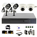 DIY CCTV System with 2 Indoor Dome Cameras and 2 Waterproof Camera for Home & Office