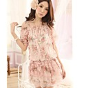 Women's Cute Floral Off The Shoulder Chiffon Mini Dress