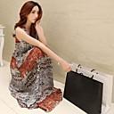 Women's Print / Maxi Boho Swing Dress , Round Neck Maxi Chiffon