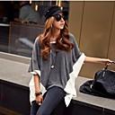 kvinnors lapptäcke grå / vit t-shirt, tillfällig rund hals batwing 3/4 ärm