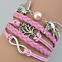Women's Fashion Multideck Bird Tree Braided Bracelet