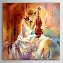 personas pintura al óleo la niña tocando el violín con lienzo pintados a mano marco de estirado