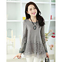 Women's White/Black/Gray Blouse, Round Neck Long Sleeve Lace And Mesh Stitching Layered Hem