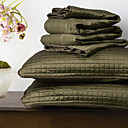 Huani® Quilt Set,3 Pieces Plaid Dark Green Polyester