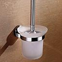 Latón sólido inodoro portaescobillas con el cepillo, 5 pulgadas x 6 pulgadas x 14 pulgadas