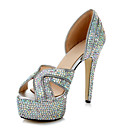 Leather Women's Wedding Stiletto Heel Platform Sandals with Rhinestone & Zipper Shoes