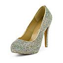 Cuero de la manera del talón de estilete del dedo del pie redondo con coloridos Rhinestone Bombas partido / zapatos de noche