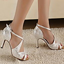 Customizable Women's Dance Shoes Latin/Ballroom Leatherette Customized Heel Silver