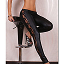 Kvinners Faux Leather Black Legging