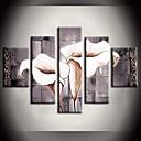 mecanismo paisaje pintura al óleo pura flor de lirio blanco con juego de marco estirada de 5 lienzos pintados a mano