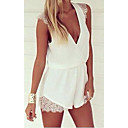Women's Solid White Dress , Sexy/Casual Deep V Sleeveless