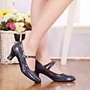 Non Customizable Women's Dance Shoes Latin/Modern/Performance Sparkling Glitter/Paillette Low Heel Black/Silver
