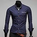 Men's Fashion Ribbon Decoration Casual Long Sleeve Shirts A