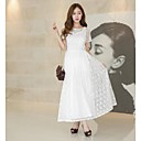 Women's Lace / Party / Work / Maxi Solid / Lace Swing Dress , Round Neck Maxi Lace