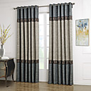 Neoclassical Two Panels Solid Blue  Grey Living Room Polyester Panel Curtains Drapes