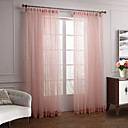 (Two Panels) Elegant Pink Solid Sheer Curtain With Pendants