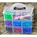 4800pcs cores sortidas diy cor do arco-íris estilo tear banda de silicone elástico pulseiras tecidos 4800pcs bandas, 1box