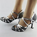 Non Customizable Women's Dance Shoes Modern Leather Chunky Heel Silver