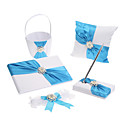 White And Blue Satin Wedding Collection Set with Faux Pearl(5 Pieces)