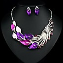 Luxury Elegance Noble Peacock Feather Petal Stone(Includes Necklace&Earrings) Jewelry Set(1 pc)