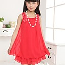 Girl's Round Colloar Lace Stitching Chiffon Sleeveless Dress