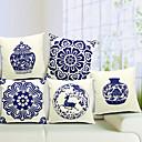Set of 5 Chinese Porcelain Cotton/Linen Decorative Pillow Cover