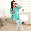Women's The New Confined Suits Single Milk Silk Printed Apple Pregnant Women Long Suit