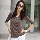 Women's V Neck Long Sleeve Solid Color Cotton   Blouse