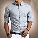 Men's Pure Color Slim Long Sleeve Shirt