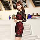Women's European Casual Long Sleeve Lace Fit Dress