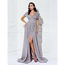TS Couture Formal Evening / Military Ball Dress - Silver Plus Sizes / Petite Sheath/Column V-neck Sweep/Brush Train Chiffon