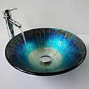 Blue  Hat Shape Tempered Glass Vessel Sink with Bamboo Faucet ,Pop - Up Drain and Mounting Ring