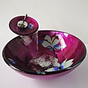 Flower Round Tempered Glass Vessel Sink with Waterfall Faucet ,Pop - Up Drain and Mounting Ring
