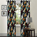 Painting Style Flower Pattern Curtain (Two Panels)