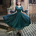 incern®women's zijde vintage slanke lange swing jurk