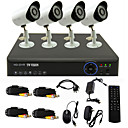 TWVISION® 4CH Channel 960H HDMI CCTV DVR 4x Outdoor 800TVL Security Camera System