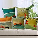 set om 5 lantlig stil handritade räv mönster bomull / linne dekorativa örngott