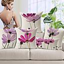 conjunto de 5 luz elegante padrão floral roxo algodão / linho cobertura decorativa travesseiro