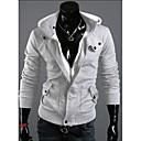más tamaño mosaico negro / gris con capucha de los hombres, cremallera de manga larga con capucha de adelgazamiento informal