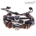 Men's Lureme Retro Alloy Heart Braided Leather Bracelet