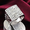 Fashion Square Zircon Shape Silver Statement Ring (1 pc)