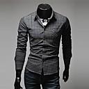 Men's Long Sleeve Shirt , Cotton Casual/Work Striped/Plaids & Checks/Pure