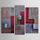 Oil Painting Modern Abstract Staff Against Cubes Set of 3 Hand Painted Canvas with Stretched Frame
