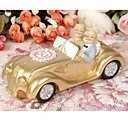 Cake Toppers Golden Marriage Couples in A  Golde Car  50th Anniversary   Cake Topper
