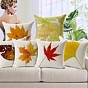 uppsättning av 6 höstlöv bomull / linne dekorativa örngott